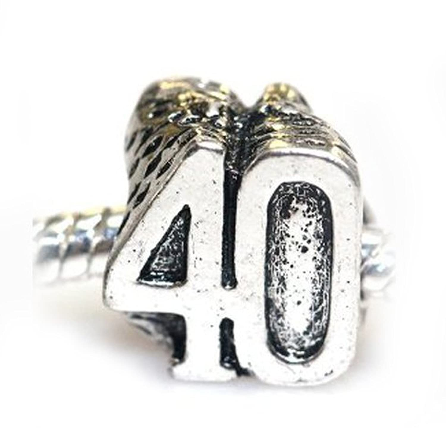 """ 40th Birthday "" Charm Bead For Snake Chain Charm Bracelet"
