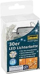 Idena LED Lichterkette mit Timerfunktion, 30er, für innen, mit Fernbedienung, warm weiß, 31602