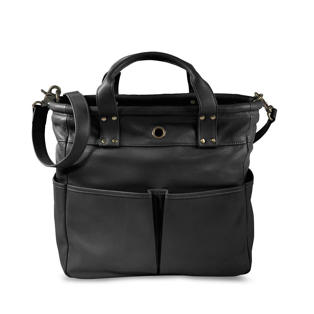 Levenger St. Tropez Leather Tote, Black (AL8790 BK) by Levenger