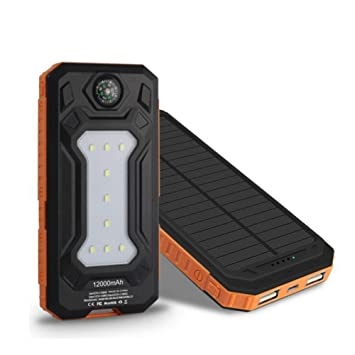 HUAN Cargador Solar Power Bank 20,000mAh Cargador Portátil ...