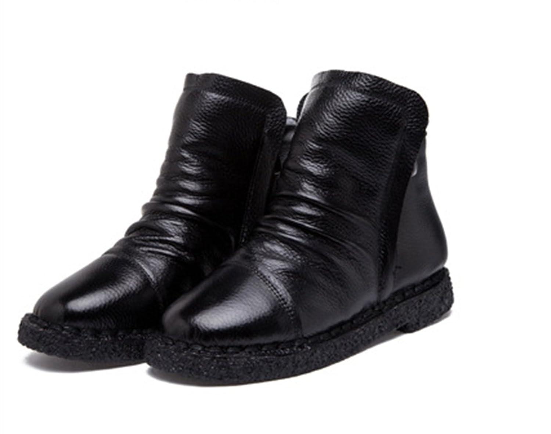 YINHAN® Women's Leahter Flat Warm Side Zipper Antiskid Short Tube Boots