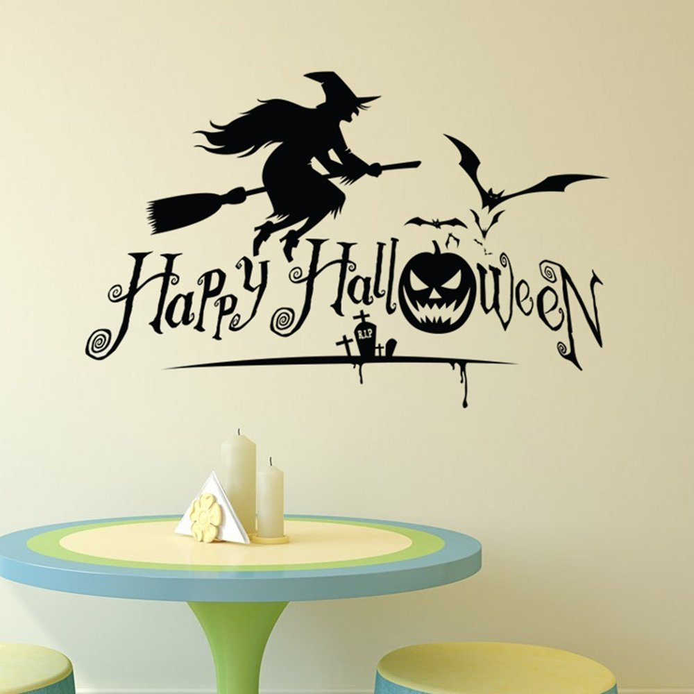 Wall Sticker Witch Window Cling Room Decor Wall Decals for Living Room Bedroom Removable Witch Wall Stickers for Girls