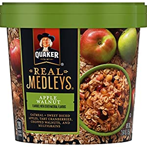 Quaker Real Medleys Oatmeal+, Apple Walnut, Instant Oatmeal+ Breakfast Cereal (12 Cups) (Packaging May Vary)