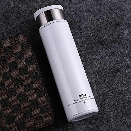 White Stainless Steel Cup Insulated Thermal Bottle Tea Infuser 14Oz