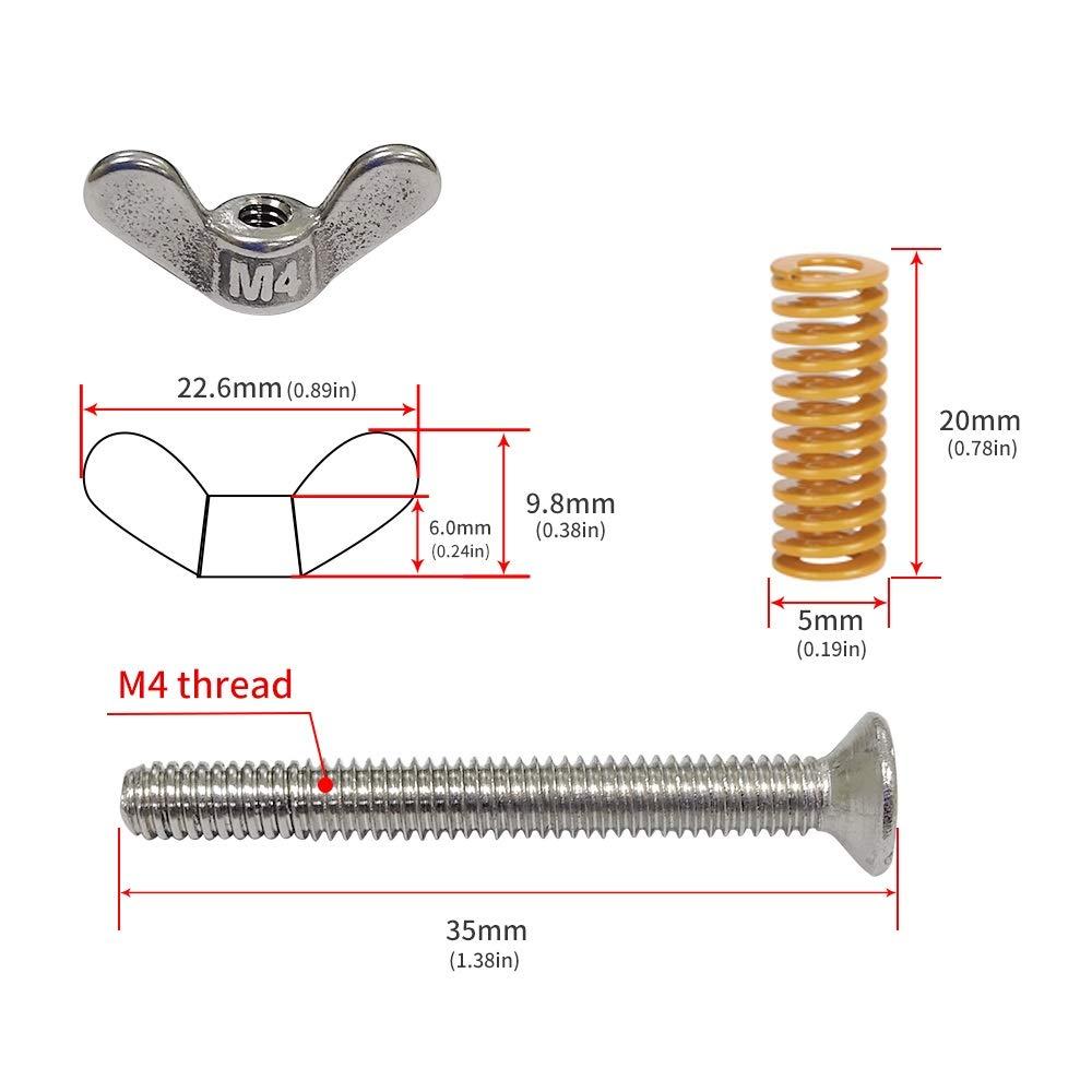 HAWKUNG 3D Printer Heatbed Spring Leveling Kit 5 Pcs Light Load Compression Mould Die Springs+5 Pcs M4x35 Screws+5 Pcs Hand Twist Nut for Ender 3//Ender 3 Pro//Ender 5//CR-10//CR-10S //CR-10 Hot Bed