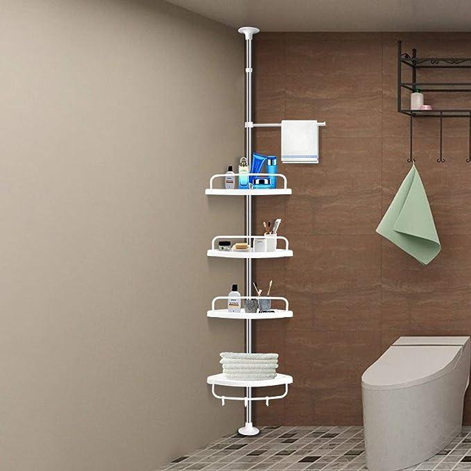 Hokipo 4 Tier Adjustable Height Stainless Telescopic Bathroom Corner Shelf Storage Rack Organizer Amazon In Home Kitchen