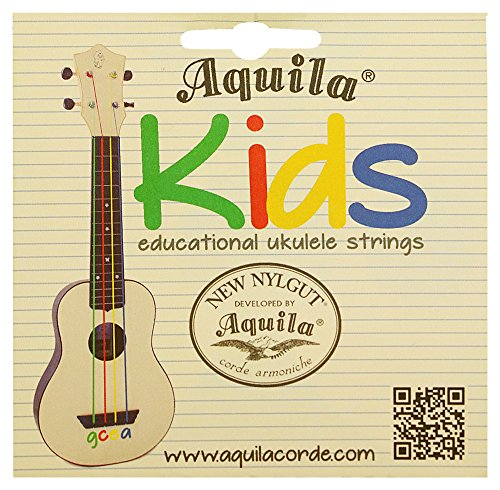 Aquila Kids Educational Colorful Ukulele New Nylgut Strings Soprano Green Red Yellow Blue