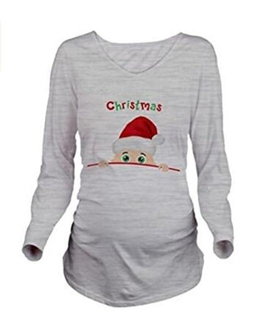 AILIENT Suelto Mujeres Embarazadas Blusa Manga Larga Tallas Grandes Papá Noel Impresión Camisa Camiseta Con Cuello