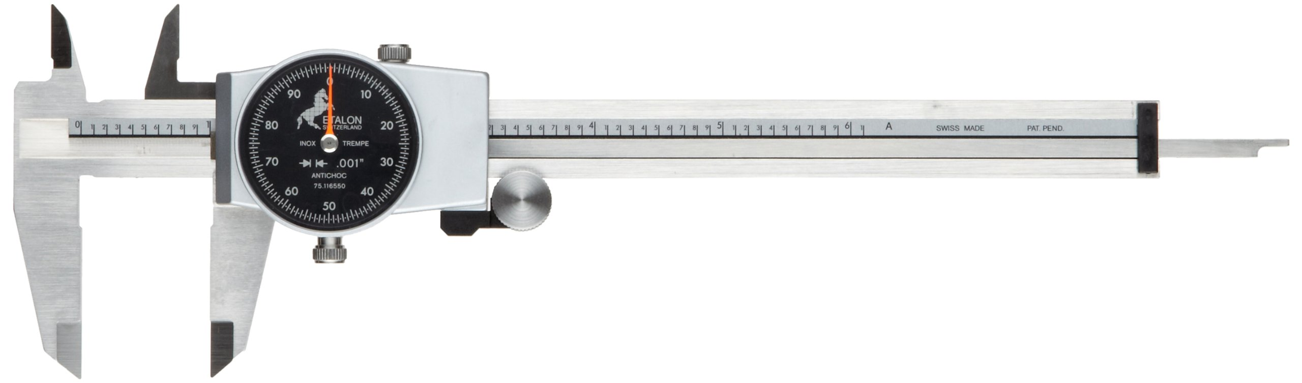 Brown & Sharpe 75.116550 Dial Caliper, Stainless Steel, Black Face, 0-6'' Range, +/-0.001'' Accuracy, 0.1'' Resolution, Meets DIN 862 Specifications