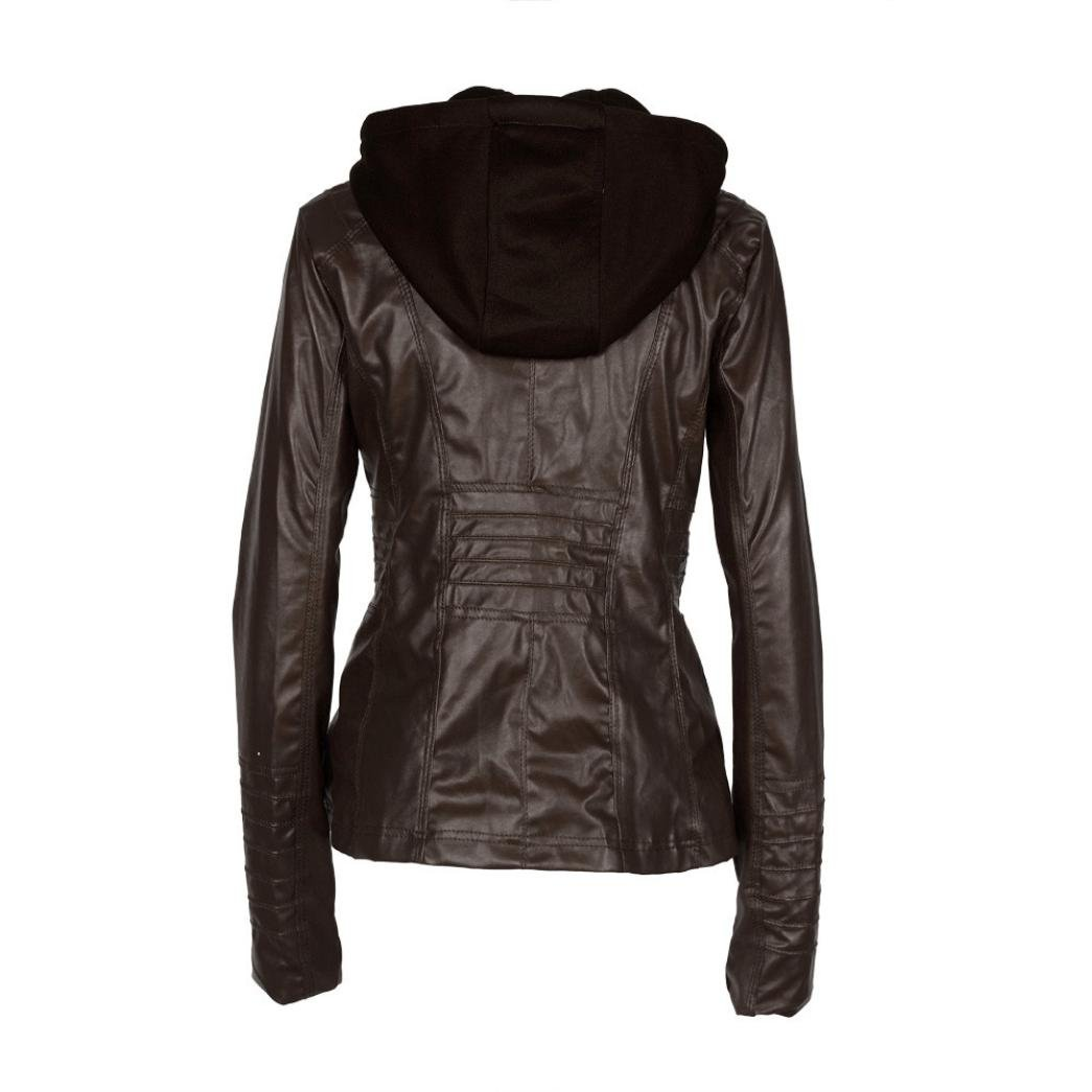 Women's Jacket,Laimeng Slim Leather Removable Zipper Hooded Jacket Coats Outwear (S, Black) Women' s Jacket