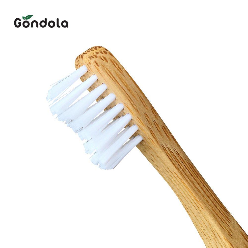 Gondola Cepillo de Dientes de bambú Natural, 4 Unidades, Tamaño Infantil, Respetuoso con el Medio Ambiente, Biodegradable, cerdas sin BPA: Amazon.es: Hogar