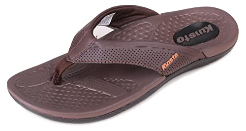 6d7700c72e0a Kunsto Men s Leather Flip Flops Sandals with Arch-Support Brown US Size 7