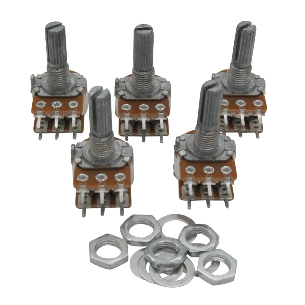 Taiss / 5pcs 50K Ohm 6 Pins Split Shaft Rotary