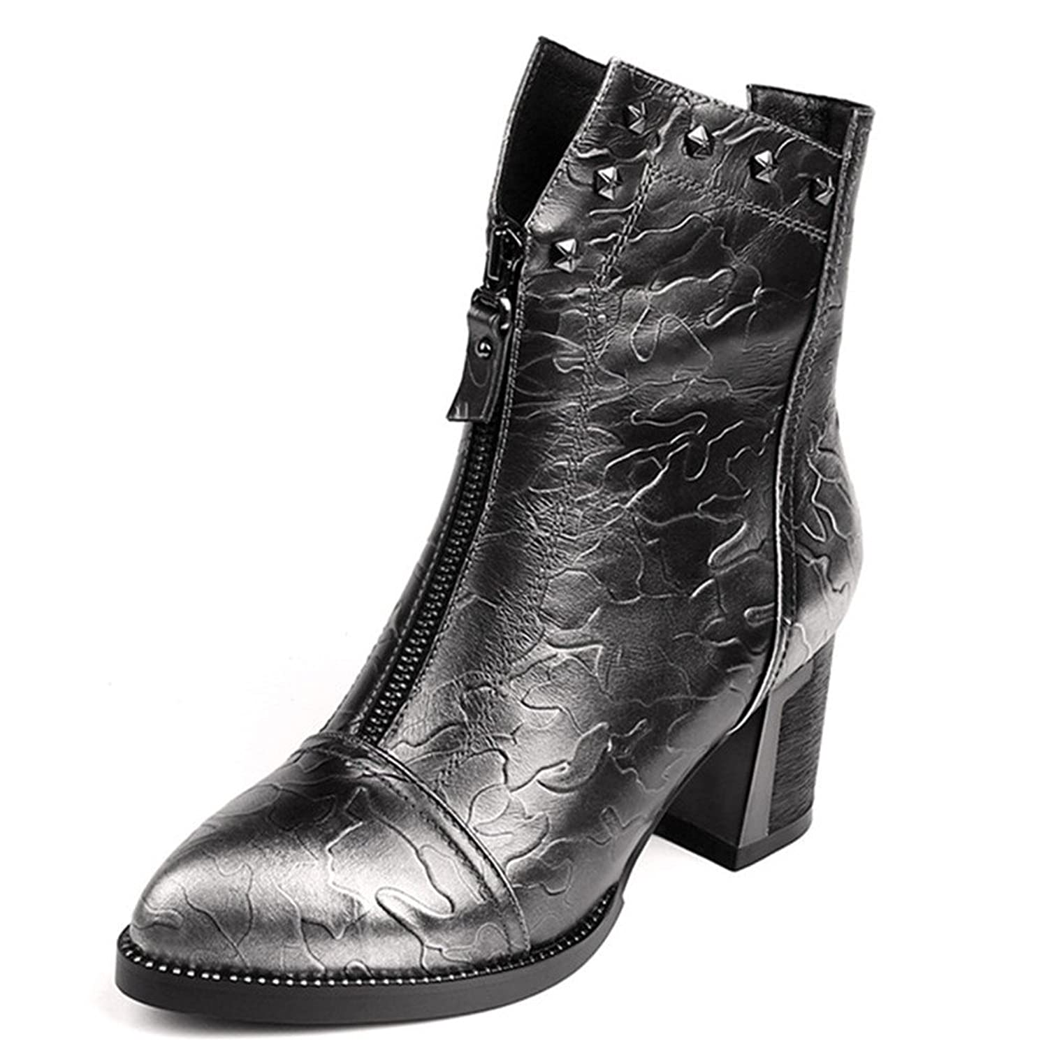 Nine Seven Genuine Leather Women's Pointy Toe Chunky Heel Rivets Zip Handmade Ankle Boot