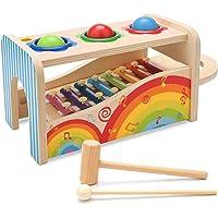 NIWAWA Xilofono in Legno,Maglio e Tre Palle di Legno Giocattolo Musicale Gioco Educativo per Bambini