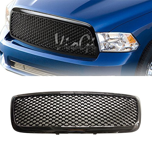 VioGi 1pc Glossy Black Strong ABS Plastic Badgeless Mesh Style Front Main Upper Grille Fit 09-10 Dodge Ram 1500 All Models / 11-12 Ram 1500 All Models