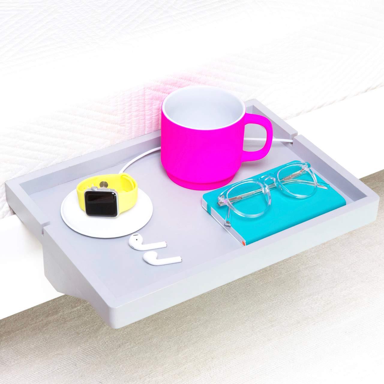 BedShelfie The Original Bedside Shelf - 9 Colors / 2 Sizes - AS SEEN ON Business Insider (Regular Size, Bamboo in Light Grey)