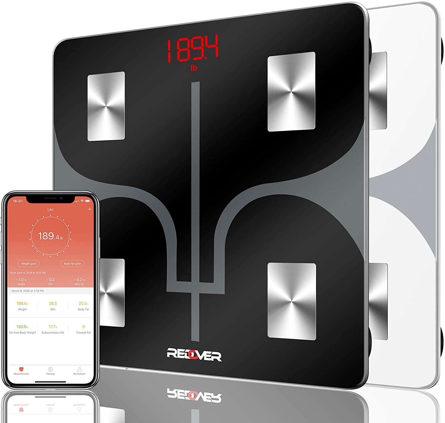 REDOVER-Bluetooth Body Fat Scale with Smartphone App, Smart Wireless Digital Bathroom Scale, Body Composition Analyzer for Body Weight, Body Fat, Muscle Mass, BMI, BMR and More, 400lb (Black)