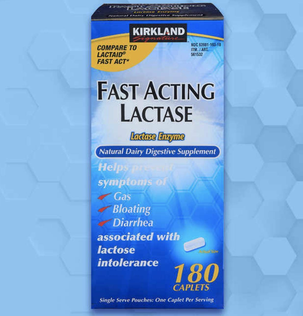 Kirkland Signature Fast Acting Lactase, 1 Pack of 180 Caplets by Kirkland Signature