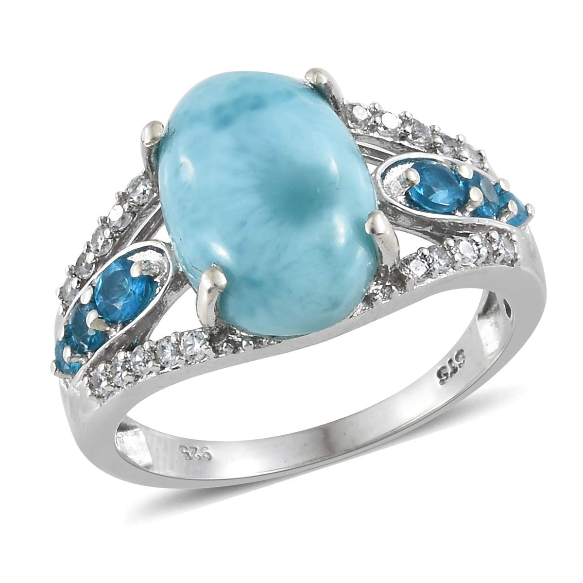 925 Sterling Silver Platinum Plated Oval Larimar, Neon Apatite, Zircon Fashion Ring for Women Size 7