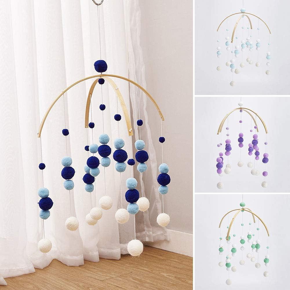 Dark Blue Baby Crib Mobile,Baby Mobile Crib Felt Ball Hanging Toys Pendant Wind Chimes Decorations,Gifts for Newborn,Nursery Decor for Girls Boys