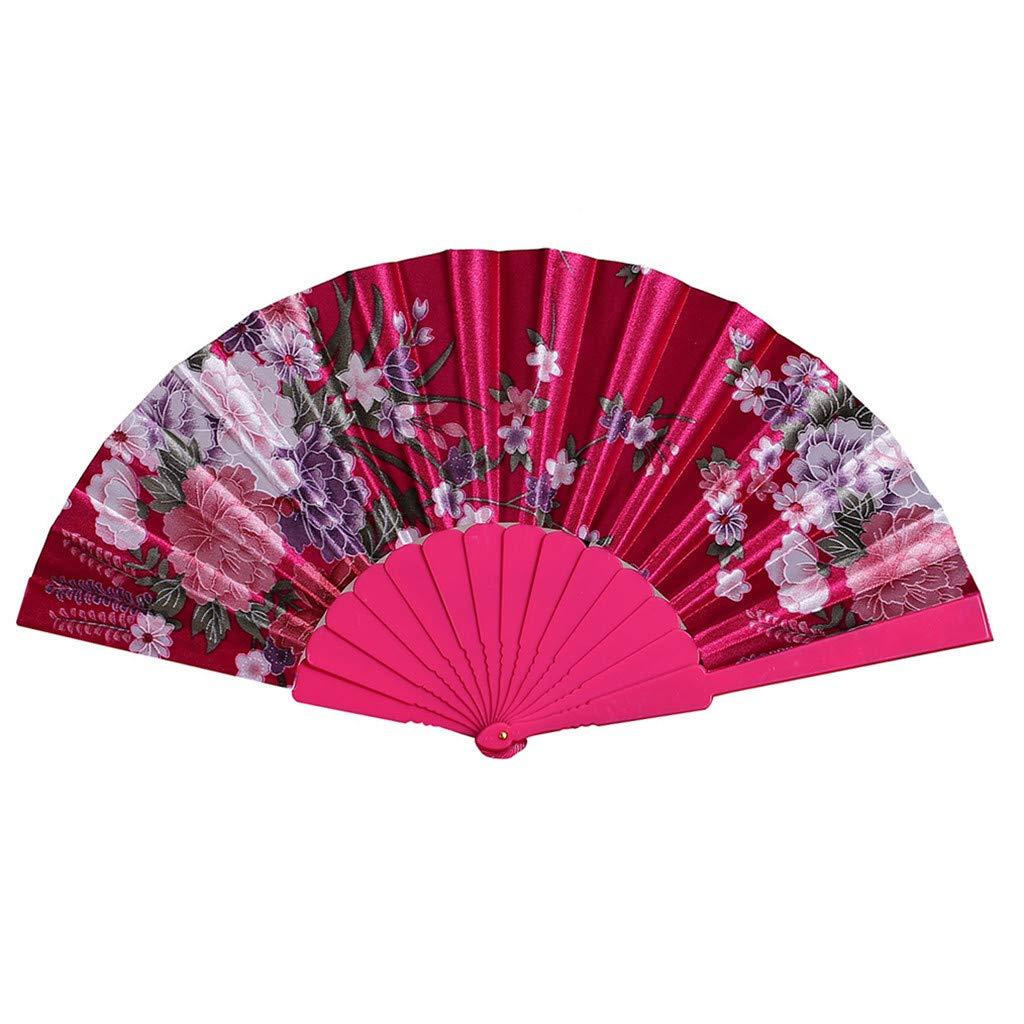 Cwemimifa Tanz Hochzeit Party Lace Silk Folding Hand Blume Fan Handf/ächer Silk Bambus Faltf/ächer Handheld Gefaltet Fan f/ür Kirche Hochzeitsgeschenk DIY Dekoration Party Favors