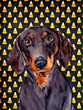 Caroline's Treasures LH9054CHF Dachshund Candy Corn Halloween Portrait Flag Canvas, Large, Multicolor
