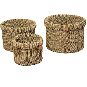 The Made by Nature Roll-top Round Chunky Weave Seagrass Baskets, Set of 3, Various Sizes approx. 17, 13 3/4, And 11 Inch in Diameter, By Whole House Worlds