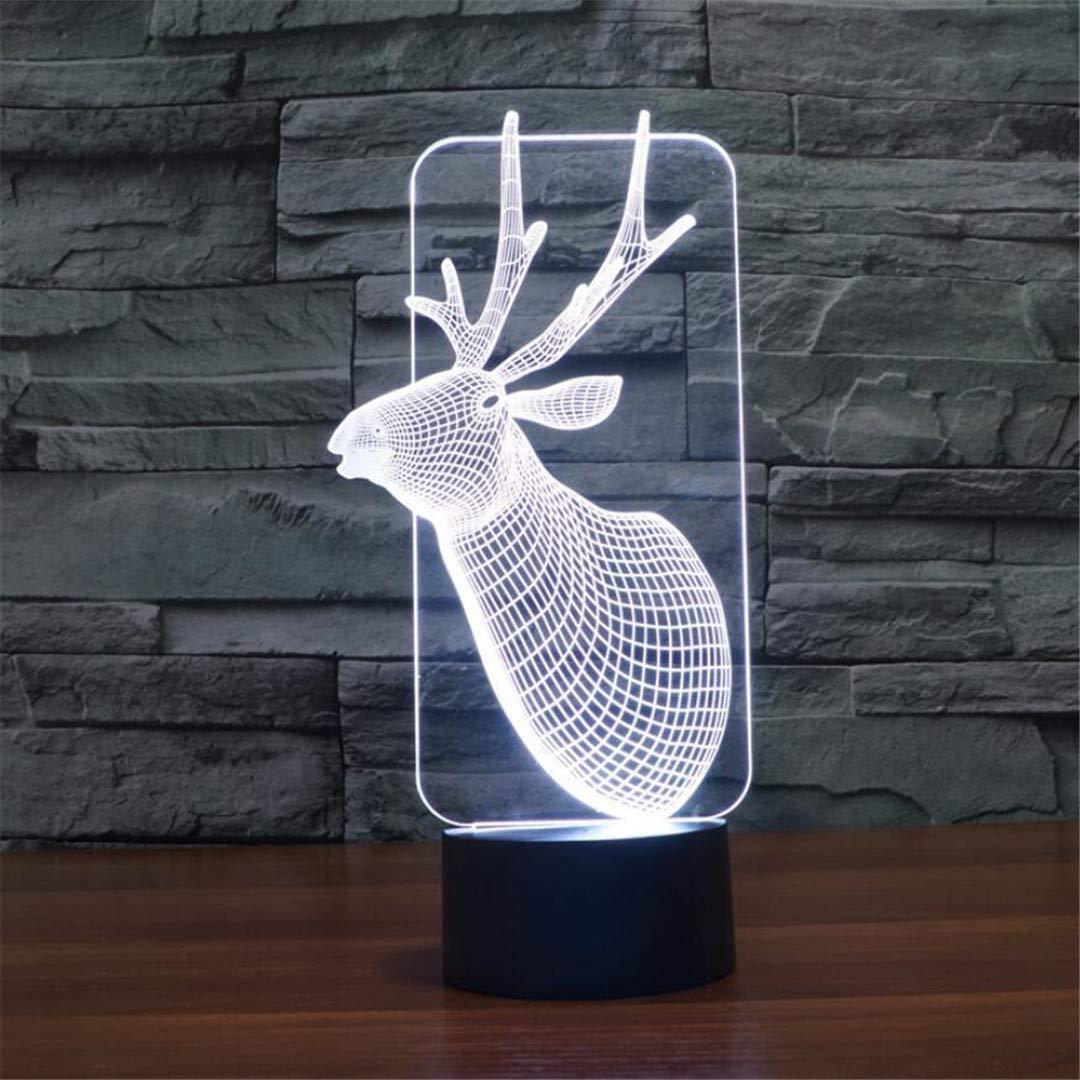 MTX Ltd Nachtlicht Elch 3D Nachtlicht Bunte Berührungsschalter Stereo Vision Tischlampe Kreative Schlafzimmer Kinderzimmer Nachtbeleuchtung