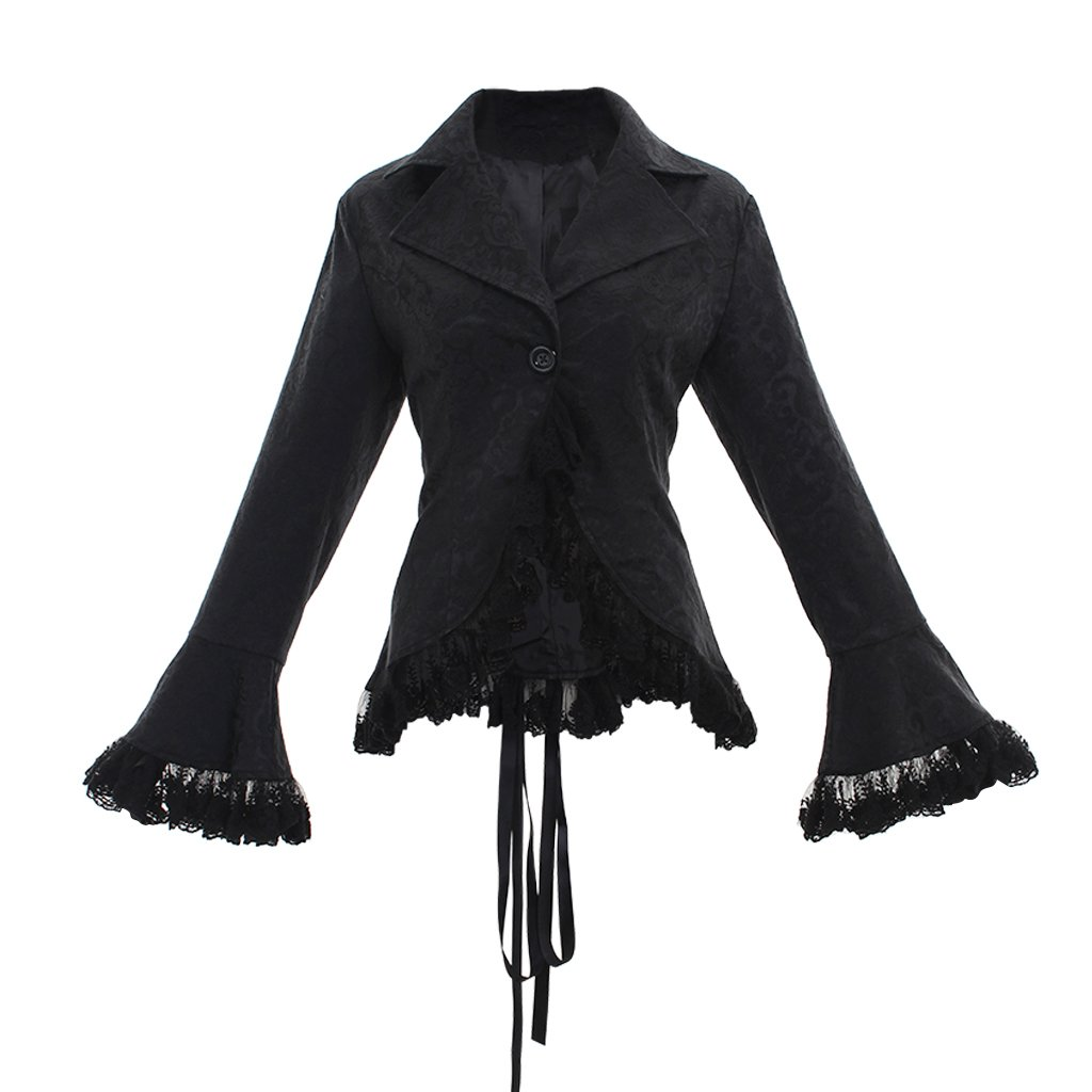 COUCOU Age Women Victorian Steampunk Jacket Blazer Top Back Lace-up