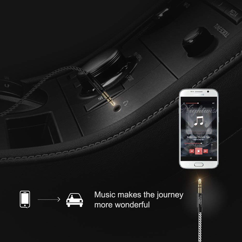 0.9M CableCreation 3.5mm Auxiliary Audio Cable 3 Feet Slim and Soft AUX Cable for Headphones Black /& White iPods iPhones iPads Home//Car Stereos /& More