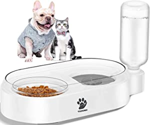 TOOOGO 2 in 1 Automatic Gravity Water Bowl & Food Bowl Set, Detachable No-Spill Pet Water Dispenser Bottle and Glass Feeder Bowl for Small or Medium Size Dogs Cats-Upgrade