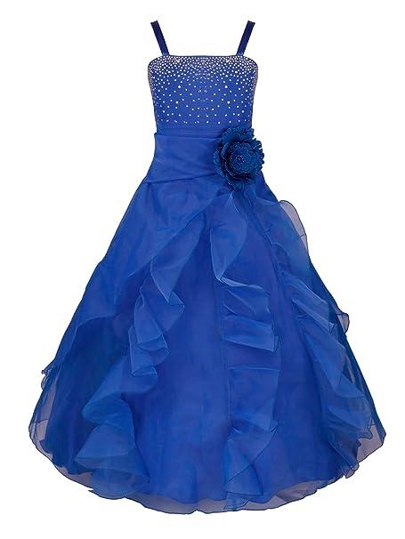 YiZYiF Vestido Ceremonia Largo Niñas Vestido Fiesta Boda con Flor Vestido Elegante Princesa Lentejuelas Traje Lujoso Maxi Comunión Noche 2-14 Años