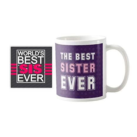 Buy YaYa CafeTM Birthday Gifts For Sister The Best Ever Coffee Mug With Coaster Set Of 2 Online At Low Prices In India