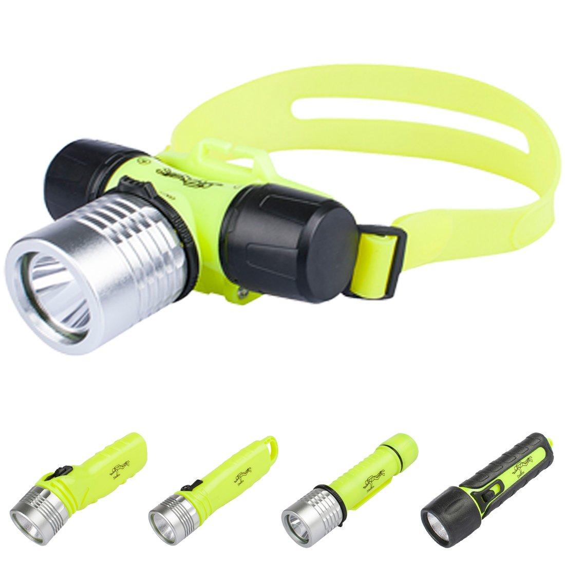 Three trees Underwater Diving Headlamp,3W 110 Lumens Waterproof LED Light,Slide Switch Safety Waterroof Underwater Buckle Headlamp,For Scuba Diving Outdoor Under Water Sports