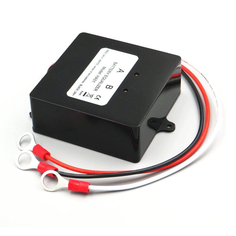 Battery Equalizer 24V, Max 2 × 12V Batteries Voltage Balancer for Gel Flood AGM Lead Acid Lithium Battery Bank Extend Service life 1 Years More