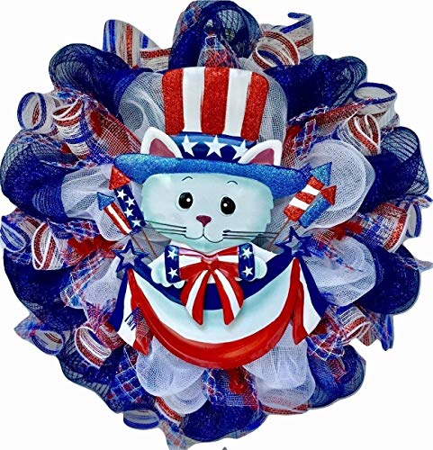 Patriotic Kitty Handmade Wreath Deco -