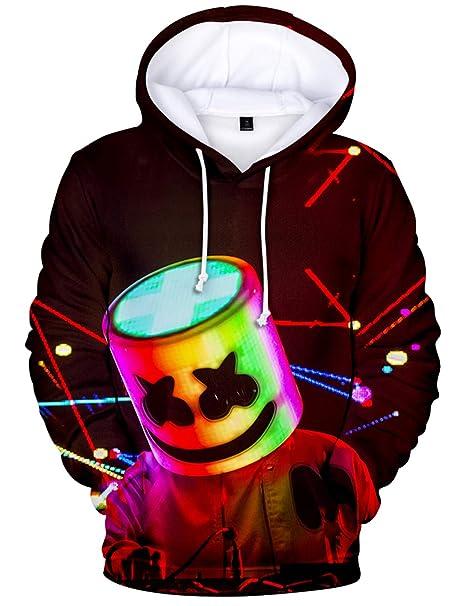 Hombres Sudaderas con Capucha HD Colorido 3D Imprimieron Marshmello DJ Música Electrónica Manga Larga: Amazon.es: Ropa y accesorios