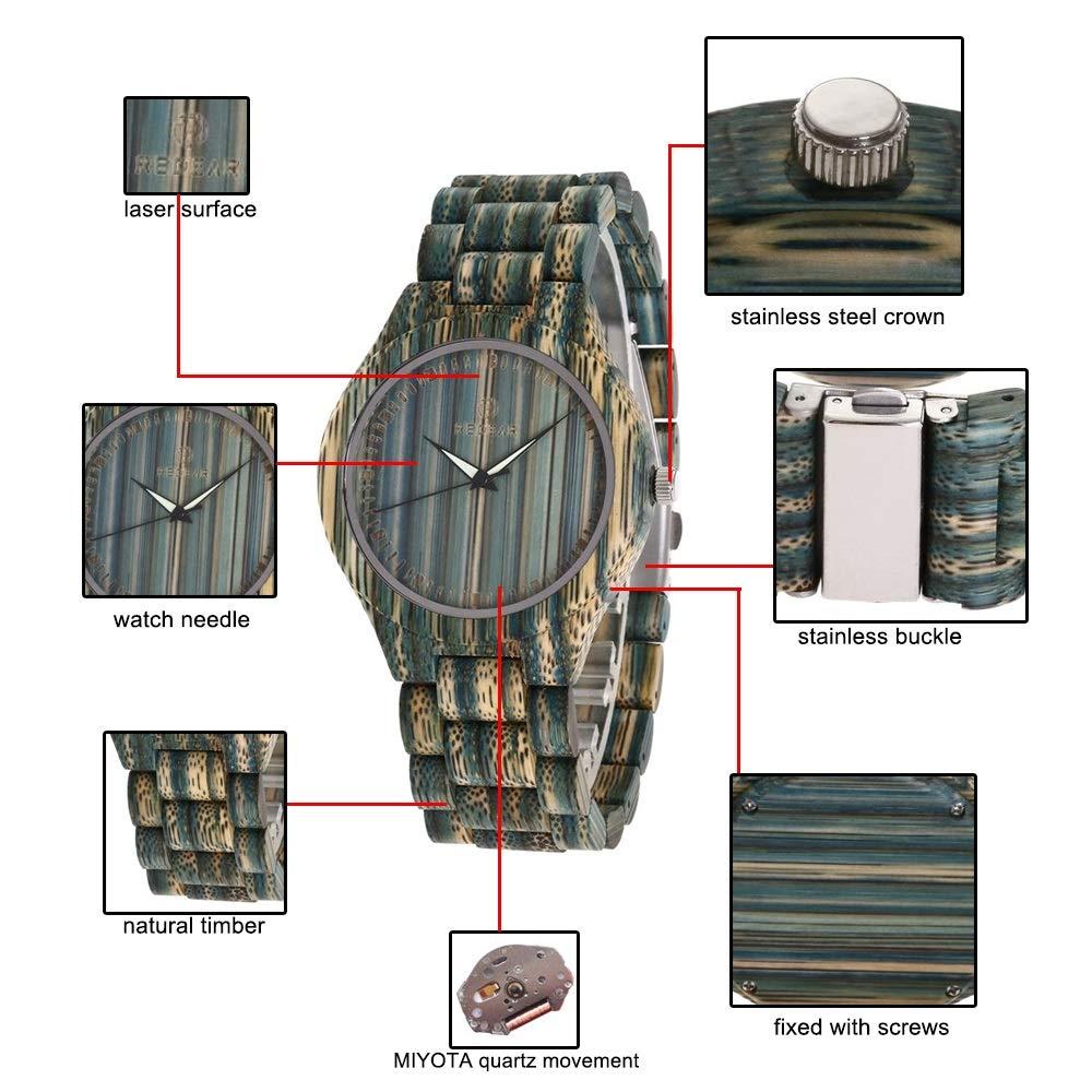Klockor träklocka - mode kreativ färg bambu - blandad färg damklocka - vardag - bästa presenten till mamma, fru, dotter-parklocka - 2-pack armbandsur Couple Watch