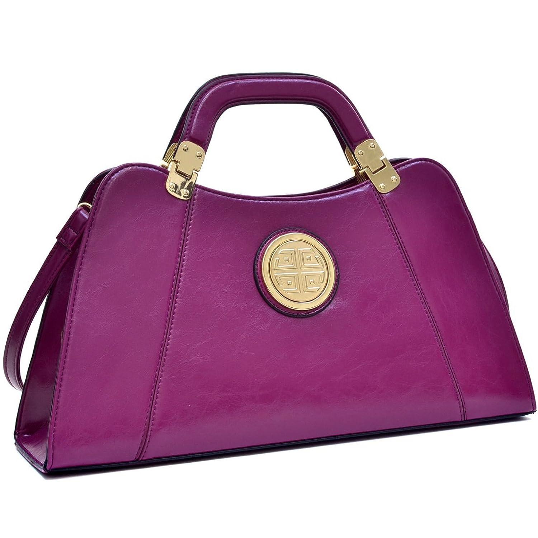 Dasein Leather Flat Bottom Golden Emblem A-Symmetrical Handbag, Shoulder Bag with Removable Shoulder Strap