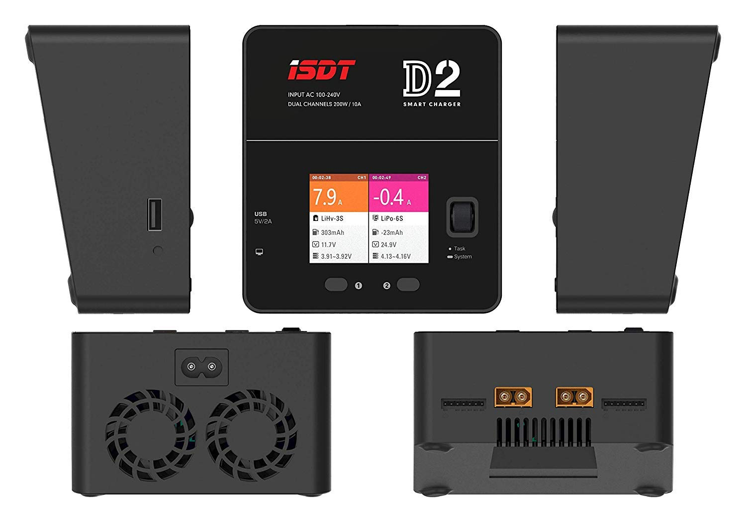 ISDT D2 LiPo Battery Balance Charger Duo Discharger Dual 200W 12A2 AC Dual Channel Output 1-6S Li-ion Life NiCd NiMH LiHV PB Smart Batterry by ISDT (Image #2)