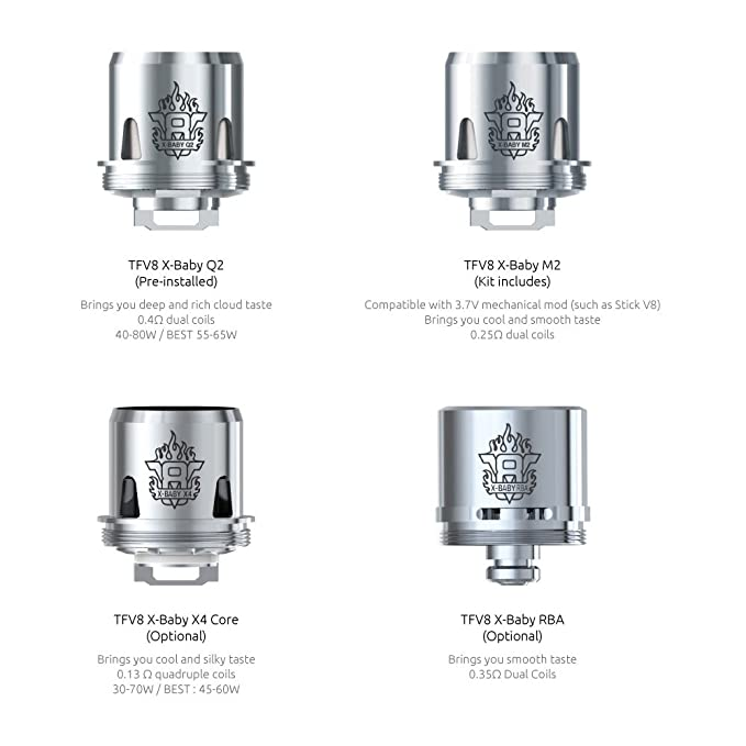 Smok Tfv8 X Baby Atomizer Head Coils Pack Of 3 M2 30 50w