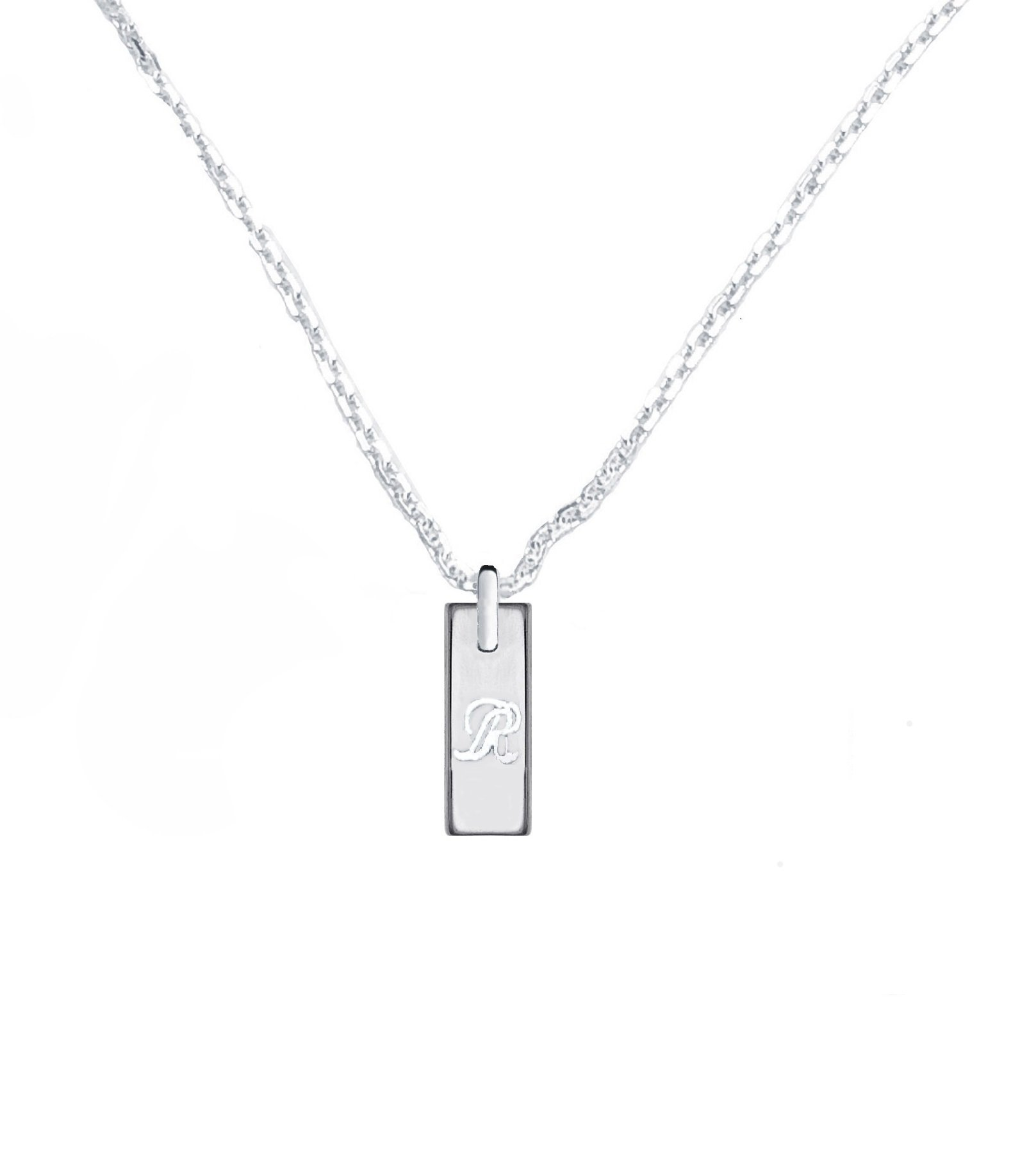 CloseoutWarehouse Sterling Silver High Polished 15MM Engravable Drop Bar Necklace 22''