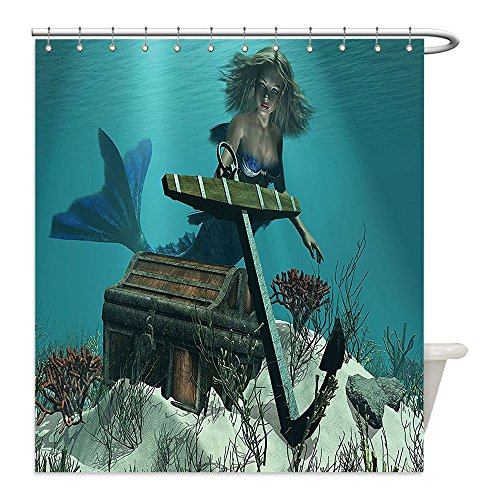 Dog Pirate Treasure Chest Costume (Liguo88 Custom Waterproof Bathroom Shower Curtain Polyester Mermaid Decor A Mermaid in the Ocean Sea Discovering Pirates Treasure Chest Mythical Art Print Decor Azure Brown Cream Decorative bathroo)