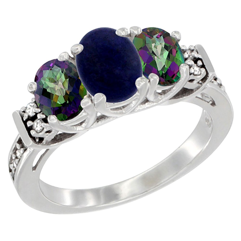 10K White Gold Natural Lapis & Mystic Topaz Ring 3-Stone Oval Diamond Accent, size 8
