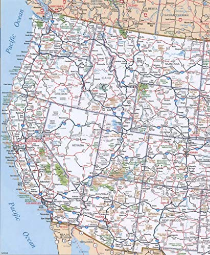 Home Comforts Laminated Map - West US Map Simple Road of Western Us States Vivid Imagery Poster Print 24 x 36