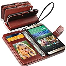 SONY XPERIA M4 AQUA - GBOS® Genuine Real Rich Leather Stand Wallet Flip Case Cover / Quality Slip Pouch / Soft Phone Bag and Genuine Tempered Glass ( Black )