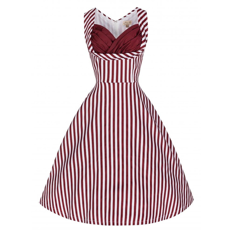 Lindy Bop 'Ophelia' Burgundy Candy Stripe Swing Party Dress