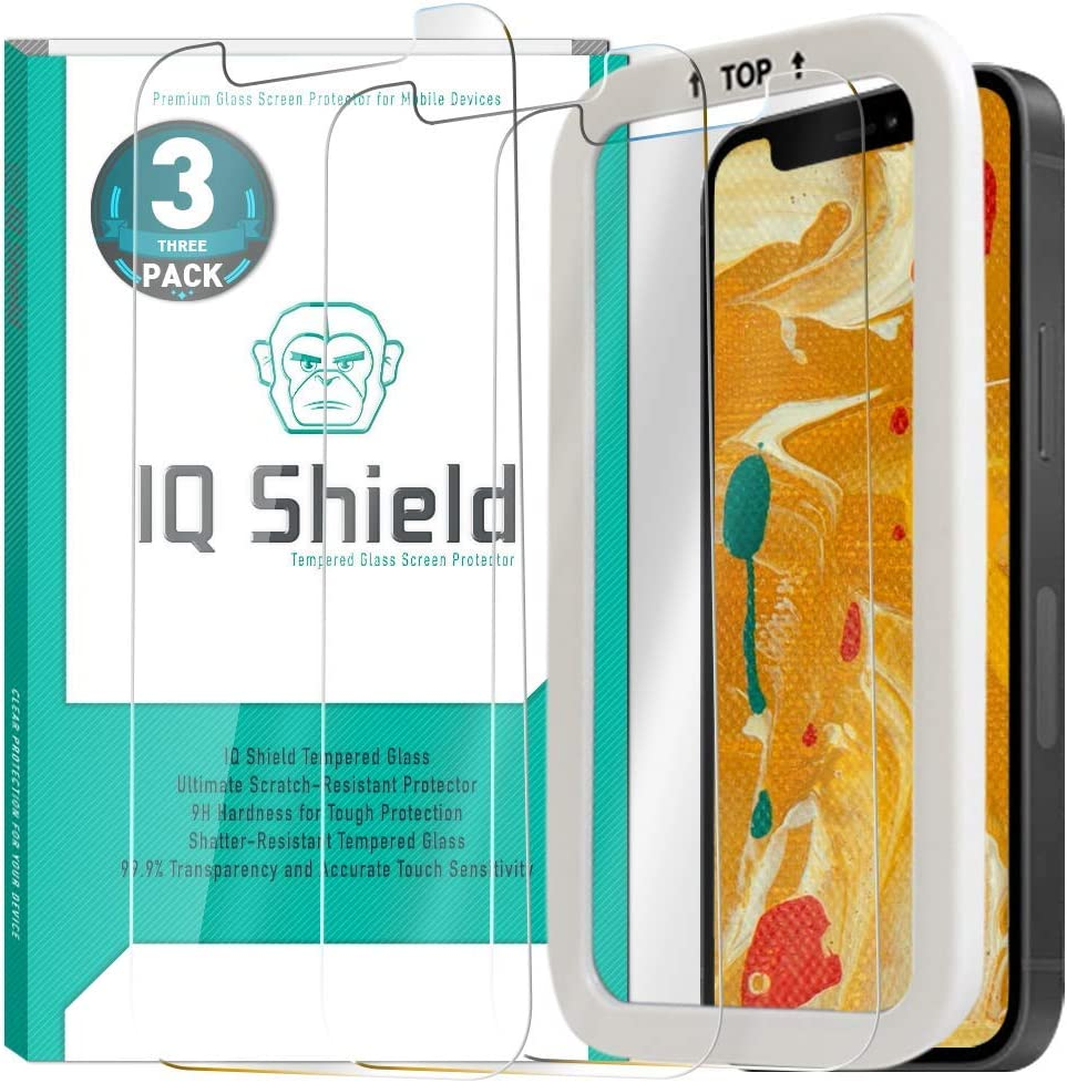 IQ Shield Tempered Glass Screen Protector for Apple iPhone 12 Pro Max [V2](3-Pack)(6.7 inch, Installation Frame Included) Anti-Bubble, 99% Transparent HD, Military Grade & Shatter-Proof Shield