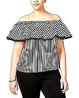 12782022d754a Inc International Concepts Plus Size Cotton Striped Off-The-Shoulder Top
